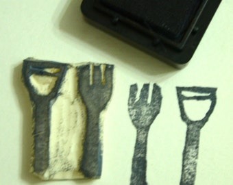 Fork and Spoon- Handmade Unmounted Rubber stamp