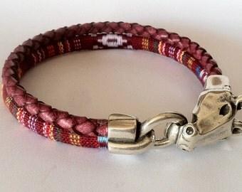 horse bracelet, mens bracelet,  leather bracelet, equestrian bracelet, western silver, cowgirl bracelet, rodeo bracelet, fabric bracelet