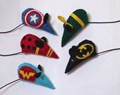 One Handmade Geeky Catnip Mouse Toy Superhero or Villain