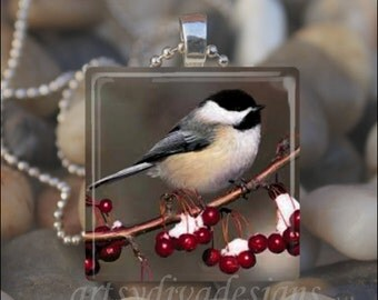 CHICKADEE BIRD Winter Berries Black White Bird Glass Tile Pendant Necklace Keyring
