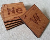 Periodic Table Individual Element Laser Cut/Engraved Wood Coaster Set - Custom Elements and Quantity