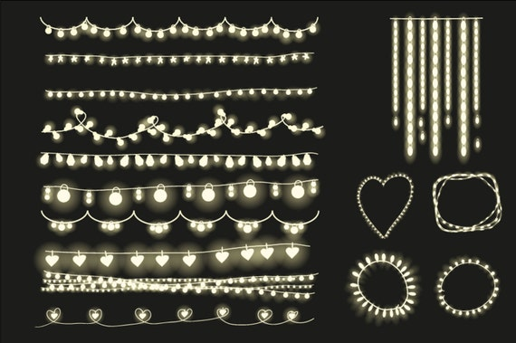 String Lights Template : Items similar to Fairy lights clipart, string lights clip art and card templates. files for ...