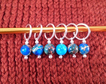 Imperial Jade Stitch Markers set of 6
