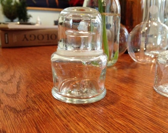 Vintage Glass Container with Glass Top