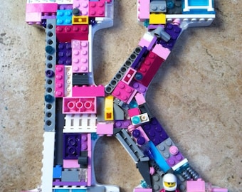 Custom mosaic letter. K, toy bricks