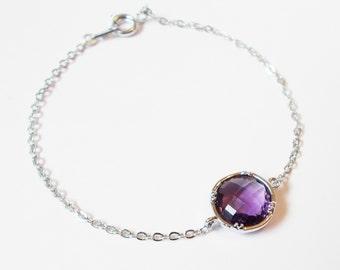 Silver Amethyst Stacking Bracelet - BridesMaid Gift - Gemstone Bracelet - February Birthstone