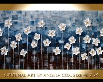 Original  Modern    White Flowers  Navy  Impasto Abstract palette Knife Wall Art  Painting. Size 48 x 24. Made2Order..