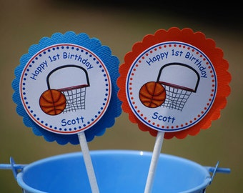 Basketball Sports Cupcake Toppers - Set of 12 Personalized Birthday Party Decorations