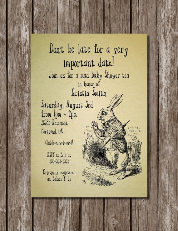 vintage alice in wonderland printable invitation/digital, Baby shower invitations