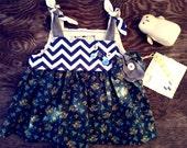 Handmade Baby Dress, Blue Chevron Baby Dress, Floral Dress, Dark Blue Baby Dress