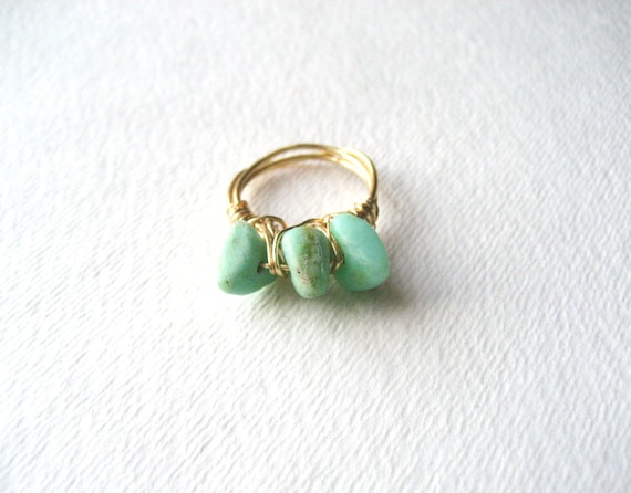 Amazonite Dagger : Wire Wrapped Ring