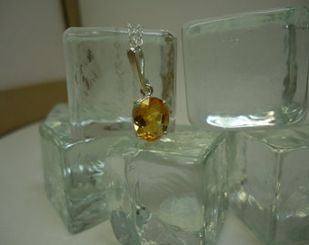 Oval Cut Citrine Necklace in Sterling Silver    #1047