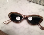 Brown Cateye sunglasses with grey tinted lenses with rhinestones vintage 1950's or 1960's