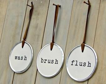 Wash Brush Flush Flush Sign Bathroom Sign Bathroom Art Brush Sign Wash Sign Kids Bathroom Cottage Bathroom Bathroom Rules Cottage Decor