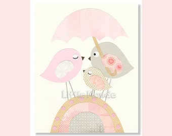 Baby Girl Nursery Prints, Pastel Nursery, Nursery Art, birds Nursery, Pink And Beige Nursery, Soft Colors Nursery Decor, Art For Little Girl