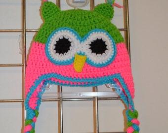 Crochet Owl Hat Sizes Newborn to Adult.