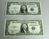 1935 Circulated Antique Silver Certificate, Vintage Silver Certificate Dollar Bills, Series A, C, or E