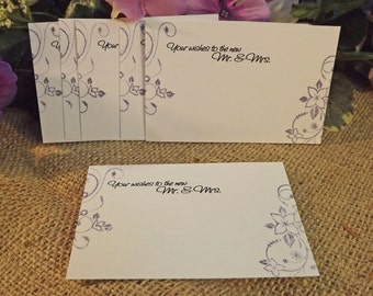 Fun Alternative Wedding Guest Book Card, Flower Scroll, Set of 50