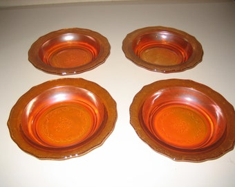 Federal Glass Bouquet and Lattice Cereal Bowls