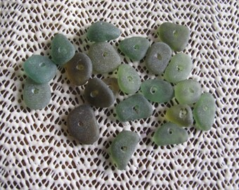 20 small (DRILLED) olive green genuine sea glass beach glass