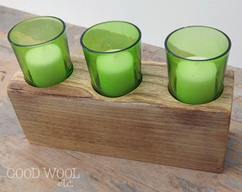 votive candle holder - rustic - reclaimed barn wood - barn beam