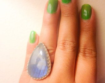 Labradorite Blue Flash Statement Ring in Sterling Silver