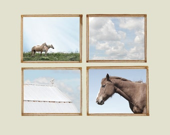 Horses and Sky - Set of 4 Photos - Light Pale Color Neutral Tones Brown Blue Farm Nursery Decor Girls Boys Room Kids Rustic Country Wall Art