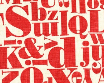 Michael Miller Just My Type by Patty Young Letterpress in Red by the Yard