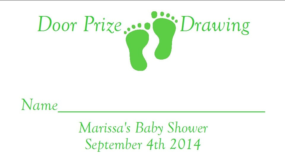 30 personalized baby footprints baby shower door prize tickets