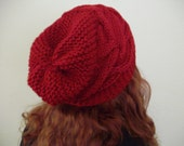 Doctor Who Amy Pond Pandorica Opens Inspired Red Cable Slouchy Knit Hat Beanie In Cranberry Red from Ashlee's Knits Cosplay