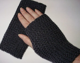 Charcoal Grey Gray Fingerless Gloves Hand Knit Hand Warmer Mitts Wristlets from Ashlee's Knits