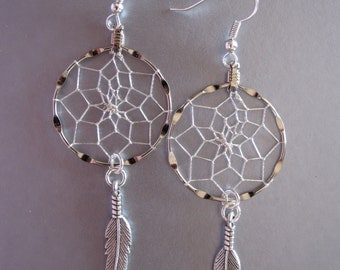 Dream Catcher Earrings ~ Silver with Antiqued Silver Feathers