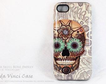 Unusual iPhone 5c Tough Case - Sugar Skull Bone Paisley - Artistic iPhone 5c Case With Dia De Los Muertos Artwork