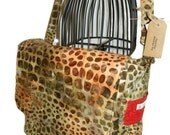 Brown Giraffe Print with Orange Diaper Bag/ Messenger Bag