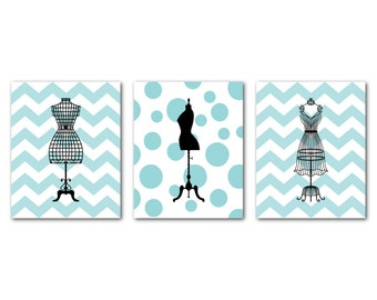 French Dress Form Mannequin Silhouettes - Set of three prints - Fashion Wall Art Trio - Chevron polka dots - teen tween - Kids Wall Decor