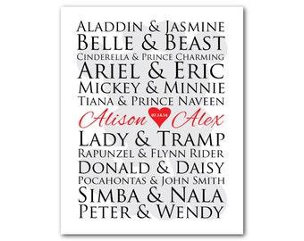Customizable famous couples print - couples art - Silhouette - Anniversary or Wedding gift typography - Wedding art - Custom wall art