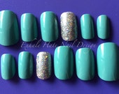 Light Blue with Holographic Glitter Accent Tiffany Inspired Press On Fake Nail Set - Stiletto, Coffin/Ballerina, Oval, Square