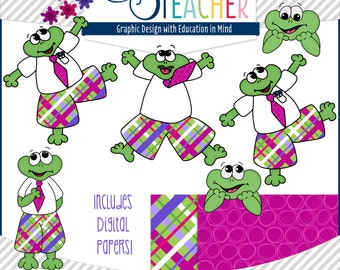 May Themed Froggy/ Frog Clipart Set