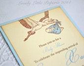 Blue Stork and Shabby Invitation - Vintage Inspired Baby Shower Invitations