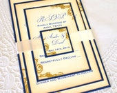 Handmade Wedding Invitation Suite - Deep Navy, vintage ivory and gold