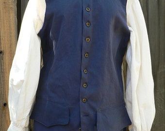 Pirate Vest Colonial Waistcoat POTC Canvas Mens Historical Costume