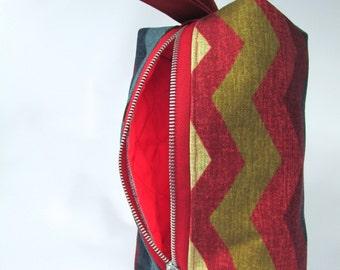 SALE Horizontal Chevron Makeup bag  with strap, zipper pouch bag, cotton canvas clutch, toiletry bag,