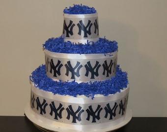Sports Themed Diaper Cake - Baseball - NY Yankees - Boy or Girl - Baby Shower