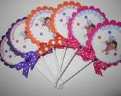 Dora the Explorer Cupake Toppers with ribbon and rhinestone (set of 12)