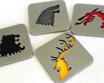 Game of Thrones Coasters Set of 4, Stark, Baratheon, Lannister,Targaryen