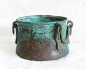 Vintage copper CAULDRON hand wrought pot, Massive patina verdigris, Ornate brass handles, Earthy cactus planter, Cozy table desk home decor