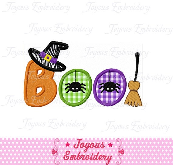 Instant Download Halloween Ghost BOO  Applique Machine Embroidery Design NO:1227
