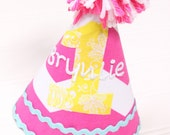 Bright Pink and Yellow Baby Girl Birthday Hat-Personalization Included