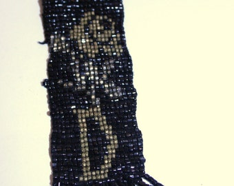 Vintage Hand-Beaded Black and Gold Watch Fob