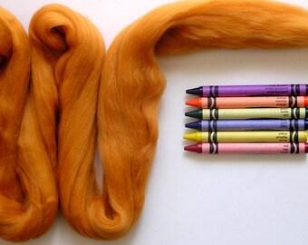 MERINO WOOL ROVING / Tangerine 1 ounce / merino wool for needle felting, wet felting, spinning, nuno felting, fiber art, doll hair, dreads